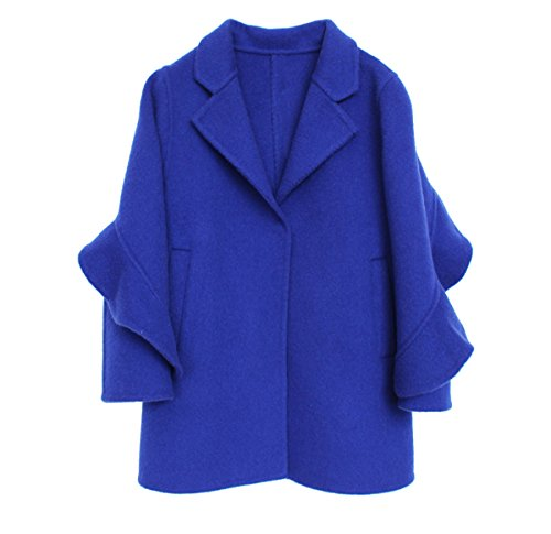 Girls Handmade Coat mid-length Woolen Overcoat Blue by ZYYGL
