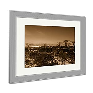 Ashley Framed Prints Night View Of The Super Tree Grove At Gardens By The Bay In Singapore Spanning, Contemporary Decoration, Sepia, 26x30 (frame size), Silver Frame, AG6084877