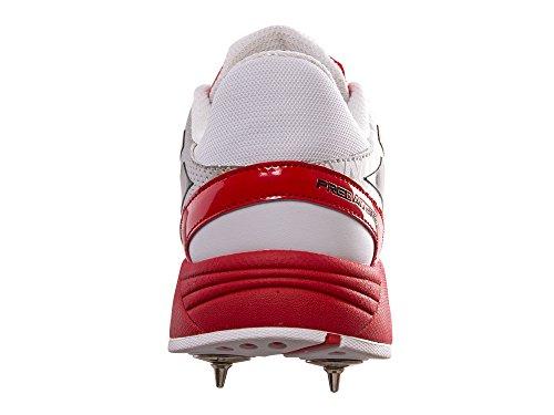 Gray-Nicolls Atomic - Zapatos de críquet con clavos, hombre, blanco, rojo y negro