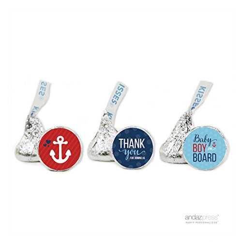 (Andaz Press Nautical Baby on Board Boy Baby Shower Collection, Thank You Chocolate Drop Label Stickers Trio, Fits Hershey's Kisses, 216-Pack)