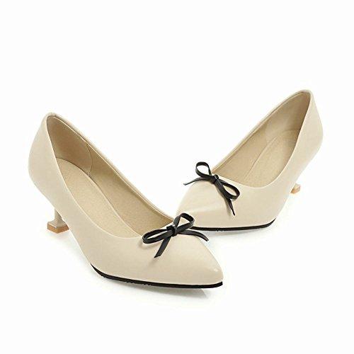 Mee Shoes Damen High Heels mit Schleifen Slip On Pumps Beige