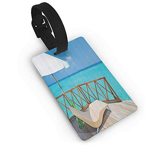 Luggage card Coastal Decor Collection,Parasol and Chaise Lounges Deckchair on a Terrace of Water Villa in Maldives Reef Picture,Aqua Sandy Blue Ivory Label Travel Accessories