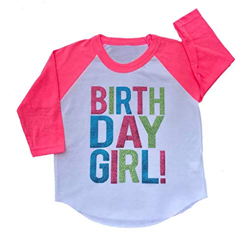 (Birthday Girl Toddler Kids T-Shirt White w/Pink 3/4 Sleeves Youth Small/8)