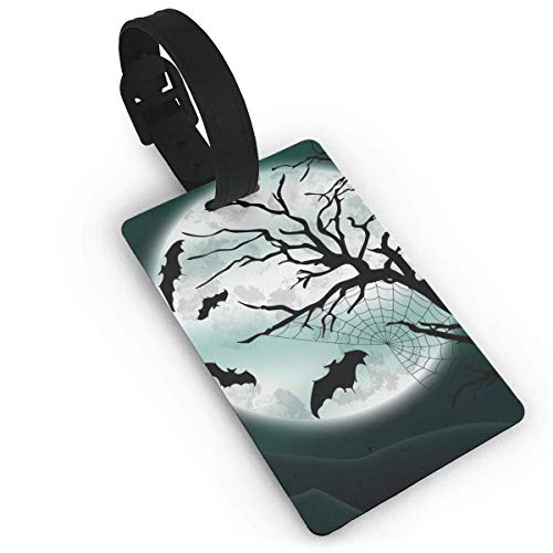 Luggage Tags With Hand Strap Durable Night Bats Halloween Travel Suitcase Bag Tag Identify Label]()