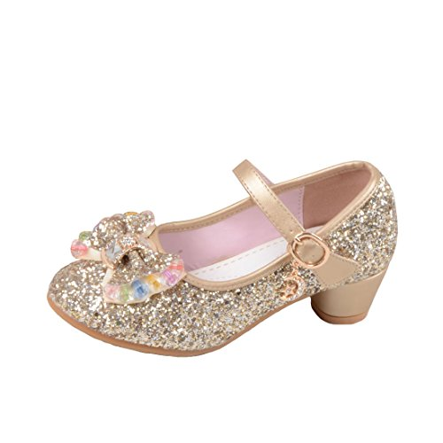 O&N Kids Girls Mary Jane Wedding Party Shoes Glitter Bridesmaids Low Heels Princess Dress Shoes Gold 11.5 M US Little ()