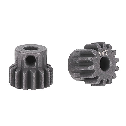 TOOGOO(R) 2Pcs M1 5mm 14T Pinion Motor Gear for 1/8 RC Car Brushed Brushless Motor ()
