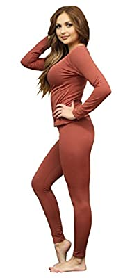 Women's Ultra Soft Thermal Underwear Long Johns Set with Fleece Lined (Large, Bronze)