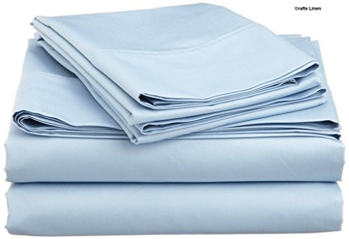 Rajlinen Ultra Soft Cozy 100% Percale Cotton 4 PCs Bed Sheet Set - 400 Thread Count 15 inch Deep Pocket - Extremely Smooth Stronger Durable Quality Bedding (Light Blue Solid,RV Bunk 42X80)