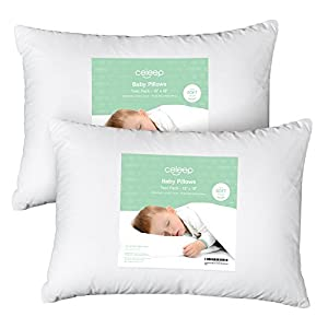 """[2-Pack] Celeep Baby Toddler Pillow Set - 13"""" x 18"""" Toddler Bedding Small Pillow – Baby Pillow with 100% Cotton Cover"""