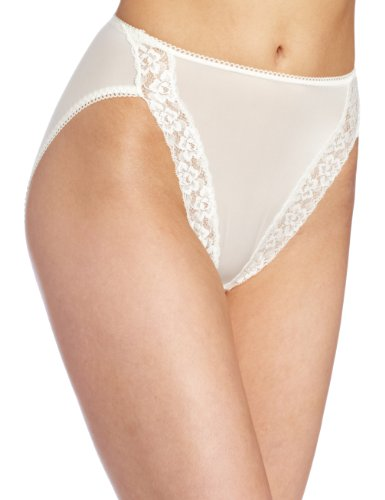 Wacoal Women's Bodysuede Lace Hi-Cut Panty Brief Panty, Ivory, 5