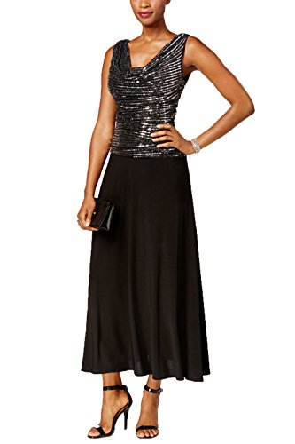 R&M Richards Womens Sleeveless Cowl Neck Sequined Metallic Shimmer Maxi Dress, Silver/Black, Size 14 (Sequined Neck)