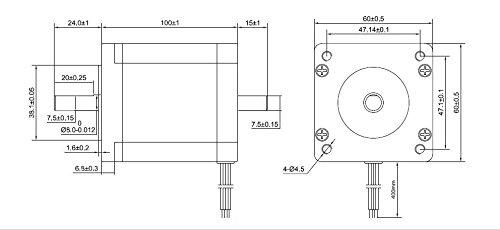 STEPPERONLINE Nema 24 Stepper Motor 4Nm 3A 8-Wire 8mm Dual Shaft CNC on