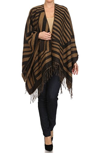 (ReneeC. Women's Print Open Front Winter Fashion Cardigan Sweater Poncho (One Size, Striped Brown))