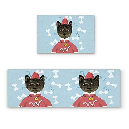YGUII 2 Piece Non-Slip Kitchen Mat Rubber Backing Doormat Runner Rug Set, Kids Area Rug Carpet Bedroom Rug Watercolor Cat wear Christmas Costum Pattern 16X23.6in (40x60cm) and 16X47in (40x120cm)]()
