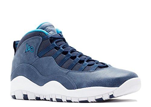 Jordan Air Retro 10 (Los Angeles-City Pack) Ocean Fog/Midnight Navy Blue Basketball Shoes - 10 D(M) US (Jordan Size Grape 10)