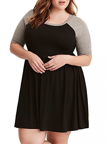 Raglan Flare Dress (Sibylla Women's Plus Size Raglan Sleeve Casual A-Line Dress Tunic Dress)