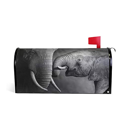 WOOR Baby Elephant and Mother Artwork Portrait Magnetic Mailbox Cover Standard Size-18