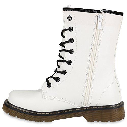 Stiefelparadies Damen Herren Unisex Worker Boots Profilsohle Leder-Optik Stiefeletten Blockabsatz Stiefel Schnürstiefeletten Übergrößen Flandell Weiß