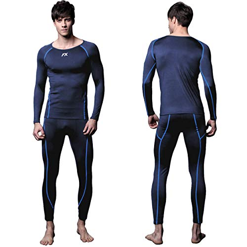(FITEXTREME Mens MAXHEAT Soft Fleece Long Johns Thermal Underwear Set Navy M)