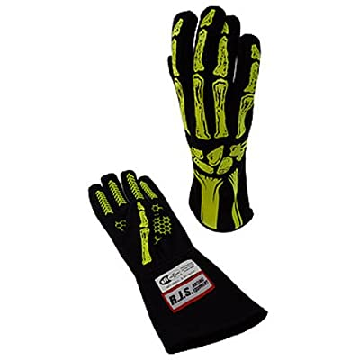 RJS Racing Equipment Men's Double Layer Skeleton Gloves(Yellow, Large), 1 Pack