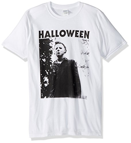 (American Classics Unisex Tall Halloween The Movie Watching Big Adult Short Sleeve T-Shirt, White)