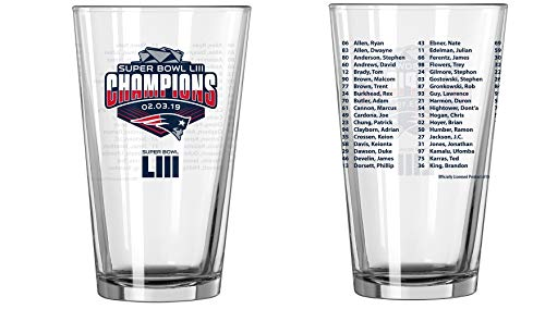 New England Patriots Super Bowl LIII 53 Champions Team Roster 16 Ounce Pint Glass