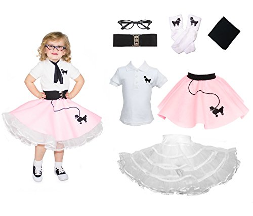 [Hip Hop 50s Shop Toddler 7 Piece Poodle Skirt Costume Set Light Pink 2T] (Poodle Skirt Set)