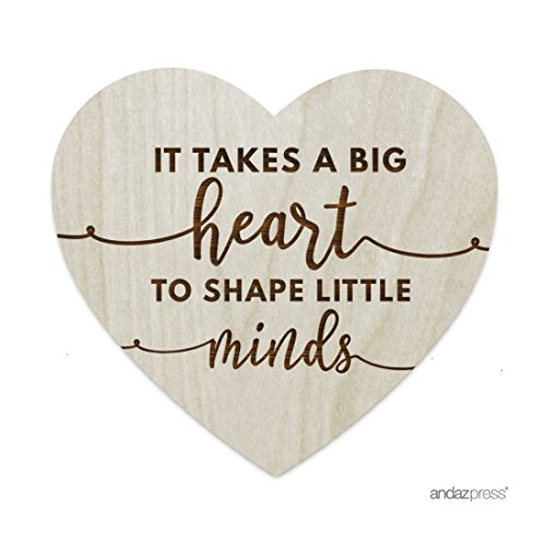 Andaz Press Laser Engraved Wood Table Sign, It Takes A Big Heart to Shape Little Minds, heart Shaped, 1-Pack, School Teacher Graduation Gift Ideas