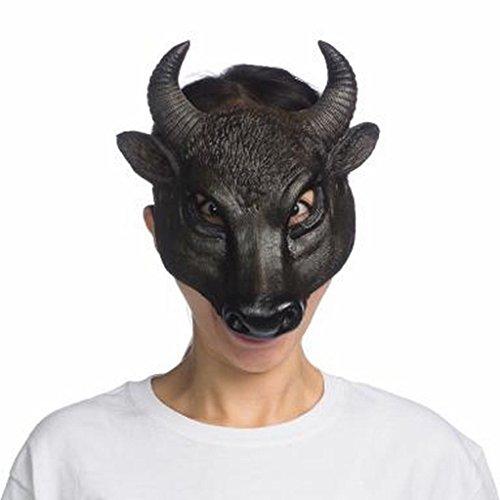 Super Soft Form Fitting Latex Bull  Mask - Half Mask, Black