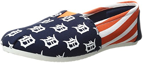 (FOCO MLB Detroit Tigers Women's Canvas Stripe Shoes, Large (9-10),)