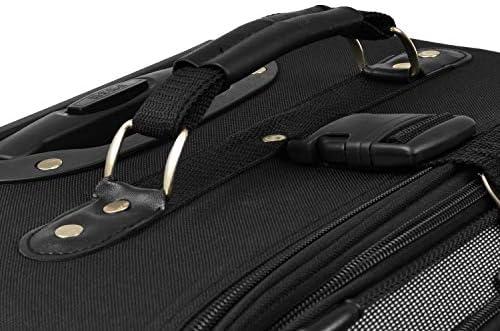 U.S. Traveler New Yorker Lightweight Softside Expandable Travel Rolling Luggage Set, Black Dobby, 3-Piece (15/21/29)