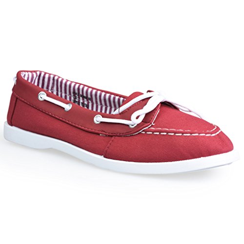 Chaussures Bonnie Torsadée En Similicuir Pour Femme À Lacets Rouge Avec Doublure Rayée