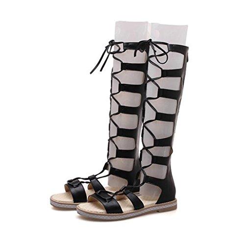 Sandals PU Upper Female Summer Flat Heel Rear Zipper Student Shoes High Boots Black JPeYw3