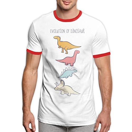 MiiyarHome Men's Ringer T-Shirt Dinosaurs Timeline, Men Short Sleeves Jersey Causal Tee Red - Dinosaur Ringer T-shirt