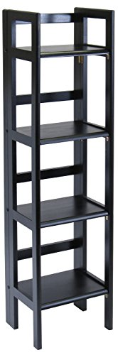 4-Tier Shelf, Black (Black Wood Shelf)