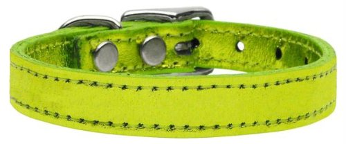 22\ Mirage Pet Products Plain Metallic Leather Lime Dog Collar, 22