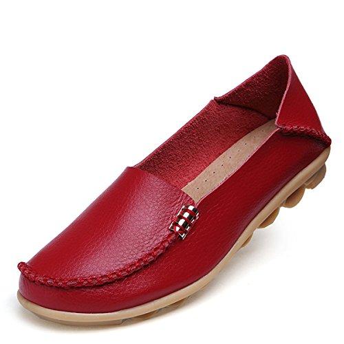 Mocassini In Pelle Da Donna Goeao Pelle Bovina Stringate Casual Mocassino Scarpe Da Guida Flat Slip-on Slippers Rosso Metallo