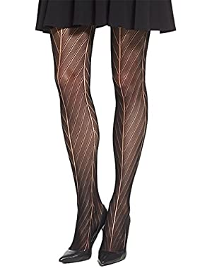 Calvin Klein Women's Black Chevron Openwork Sheer Tights Black C-D