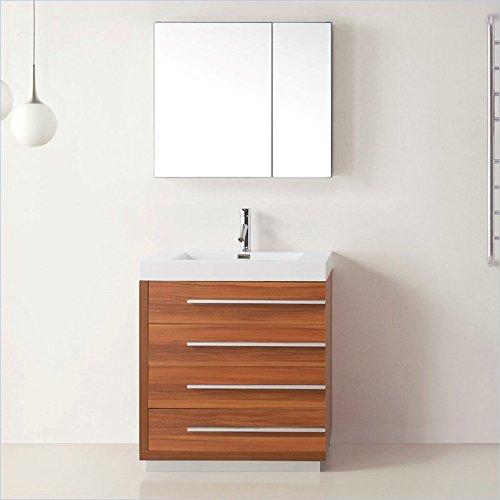 Virtu Usa Js 50530 Pl Prtset1 Bailey 30  Single Bathroom Vanity With White Polymarble Top And Square Sink  Plum