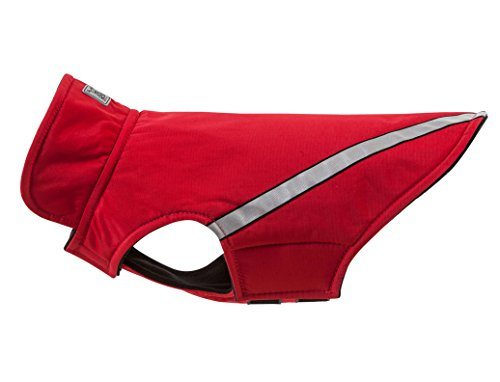 RC Pet Products West Coast Rainwear Raincoat, Fleece Lined, Water-Resistant, Reflective Dog Coat, Size 10, Red