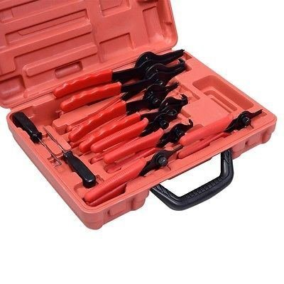11pc Snap Ring Pliers Set Mechanics Circlips Auto Tool Internal External - Straight Ring Tip 9