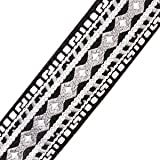Amumu Jacquard Ribbon Woven Guitar Strap with Premium Leather Ends ,Gray and White