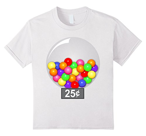 [Kids Gumball Machine Quarter Couples Halloween Costume T-Shirt 12 White] (Gumball Machine Girls Costumes)
