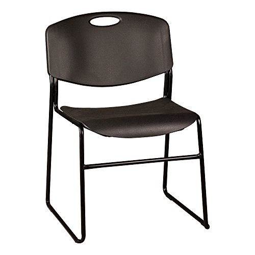 Norwood Commercial Furniture Heavy-Duty Plastic Stacking Chair, Black Seat w/ Black Frame, NOR-FEI1016-SO (Pack of -