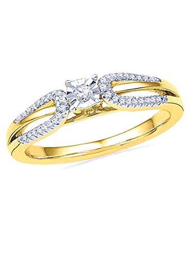 Horseshoe Diamond Ring Ladies (Diamond Ring with Horseshoe Style Side Diamonds 10k Yellow Gold)