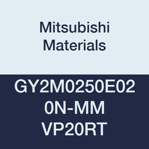 Mitsubishi Materials GY2M0250E020N-MM VP20RT Series GY Carbide Grooving Insert for Multifunctional and Medium Feeds 2 Teeth E Seat 0.008 Corner Radius 0.098 Grooving Width Pack of 10