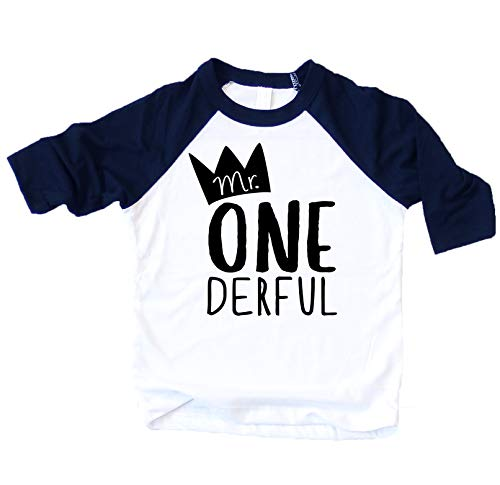Mr One-Derful Baseball Tee Shirt for Boys 1st Birthday Shirt, Navy, 18 Months (The One With The Tiny T Shirt)