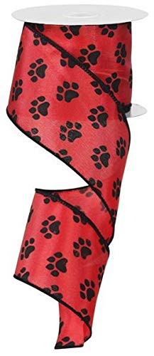 Red Satin with Black Paw Prints 2.5