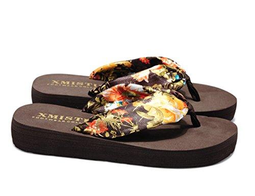 Sandaletten Damen Sommerschuhe Flip Klippzehe Plateau Schuhe Pantolette Zehentrenner Flops Strand Braun1 Bohemian Flach Wohnungen HfqwC8A4