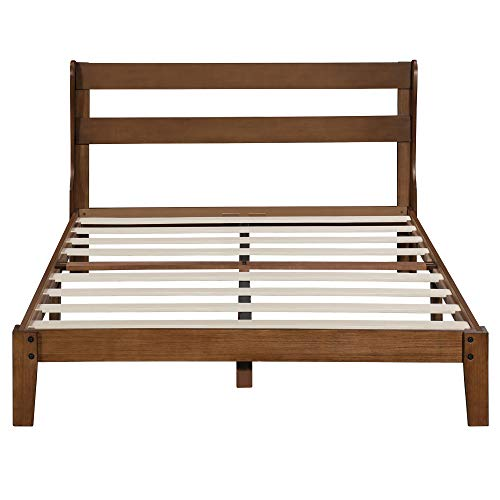 Ecos Living 12 Inch High Rustic Solid Wood Platform Bed Frame with Headboard/No Box Spring/No Squeak, Chestnut, Full